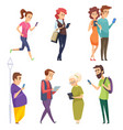 characters with gadgets man woman kids internet vector image