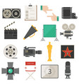 cinema movie making tools equipment symbols icons vector image
