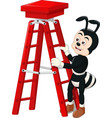 cool black ant wearing brown shoes with red ladder vector image vector image