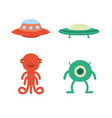 cute flat alien icon spaceship vector image