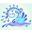decorative aquatic blue wave with sparks and drops vector image