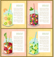 detox diet set of poster with refreshing cocktails vector image