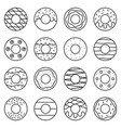 doughnut outline icon in various style vector image