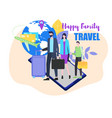 family travel father mother child with suitcase vector image vector image