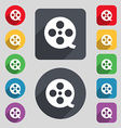 Film icon sign A set of 12 colored buttons and a vector image vector image