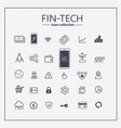 financial technology web icon set - money finance vector image vector image