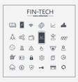 financial technology web icon set - money finance vector image