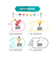 four steps infographic layout with rocket launch vector image vector image