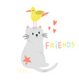 funny cat and seagull friends friendship concept vector image vector image