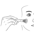 girl gets rouge brush on white background vector image