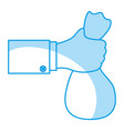 hand holding bag gesture vector image
