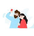 happy couple doing a selfie young man and woman vector image vector image