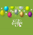 happy easter background with realistic colorful 3d vector image