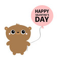 happy valentines day grizzly brown bear toy vector image