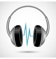 Headphones and soundwave poster vector image vector image