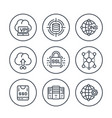 hosting service and network solutions line icons vector image vector image