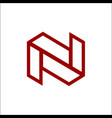 initials letter n mono line logo template vector image