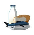 Isolated fish bread and milk design vector image vector image