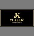 jk monogram classic logo design inspiration vector image