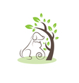 Line drawing cats and dogs under the tree vector image