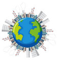 many factory buildings on earth vector image