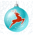 Merry Christmas card with brilliant glossy ball vector image