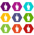 middle finger hand sign icon set color hexahedron vector image vector image