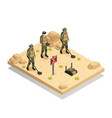 military demining robots isometric composition vector image vector image