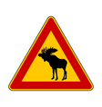Moose warning sign vector image vector image