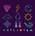 neon weather icons vector image