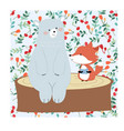pattern seamless cute teddy bear and fox in vector image