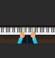 piano keys with person hands learning play chords vector image vector image