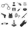 police department monochrome icons in set vector image vector image