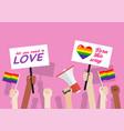 pride month crowd people in lgbtq parade vector image vector image