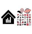 Realty Bar Chart Flat Icon with Bonus vector image vector image