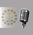 rhode island flag and microphone vector image vector image