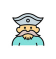 sailor pirate robber flat color line icon vector image vector image