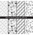 set of patterns with floral design vector image vector image