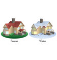 set of two houses in summer and winter time vector image vector image