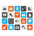 Silhouette Camping travel and Tourism icons vector image