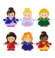 Six funny little princesses vector image vector image