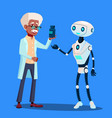 smart robot visiting doctor isolated vector image vector image