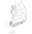 South Korea Black White Map vector image vector image