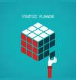 strategic planning cube concept in flat style vector image vector image