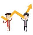 Two businessmen holding growth graph vector image vector image