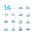 water transport - thin line design icons set vector image