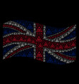 waving uk flag mosaic of total control eye pyramid vector image