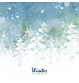 winter christmas card pine forest silhouette vector image
