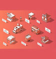 3d isometric food courts trucks vector image vector image