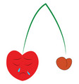a sad red cherry fruit with a long green stem vector image vector image